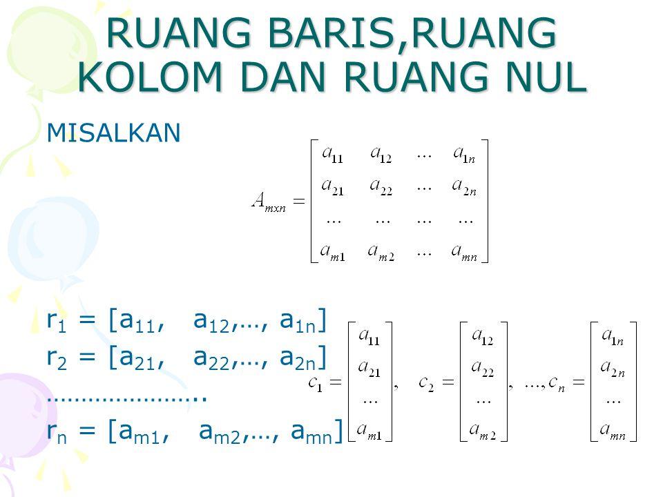 RUANG BARIS,RUANG KOLOM DAN RUANG NUL MISALKAN r 1 = [a 11, a 12,…, a 1n ] r 2 = [a 21, a 22,…, a 2n ] ………………….. r n = [a m1, a m2,…, a mn ]