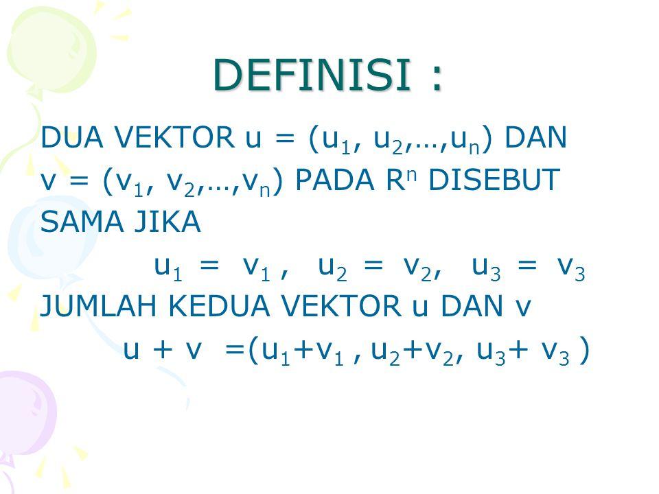 DEFINISI : DUA VEKTOR u = (u 1, u 2,…,u n ) DAN v = (v 1, v 2,…,v n ) PADA R n DISEBUT SAMA JIKA u 1 = v 1, u 2 = v 2, u 3 = v 3 JUMLAH KEDUA VEKTOR u