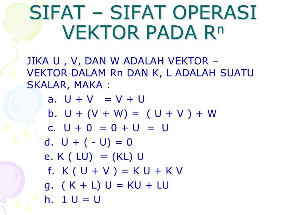 SIFAT – SIFAT OPERASI VEKTOR PADA R n JIKA U, V, DAN W ADALAH VEKTOR – VEKTOR DALAM Rn DAN K, L ADALAH SUATU SKALAR, MAKA : a. U + V = V + U b. U + (V