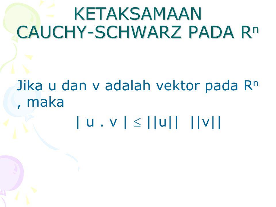 KETAKSAMAAN CAUCHY-SCHWARZ PADA R n Jika u dan v adalah vektor pada R n, maka | u.