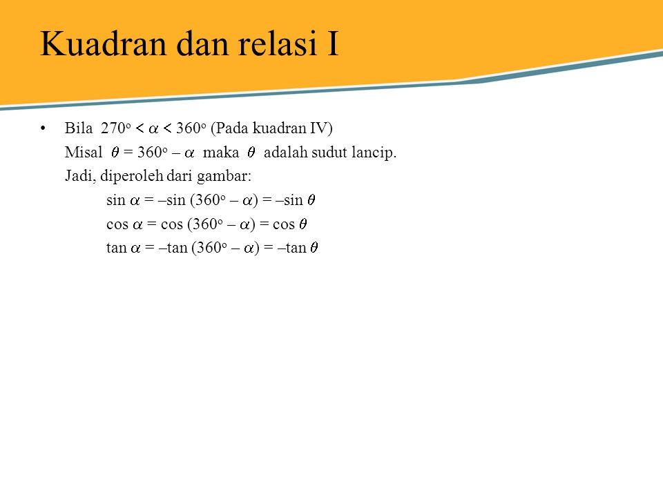 Kuadran dan relasi I Bila 270 o    360 o (Pada kuadran IV) Misal  = 360 o –  maka  adalah sudut lancip. Jadi, diperoleh dari gambar: sin  = –si