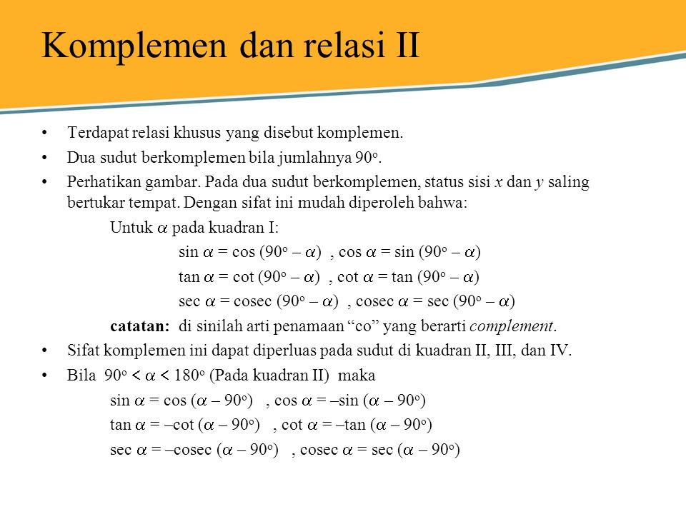 Komplemen dan relasi II Terdapat relasi khusus yang disebut komplemen. Dua sudut berkomplemen bila jumlahnya 90 o. Perhatikan gambar. Pada dua sudut b
