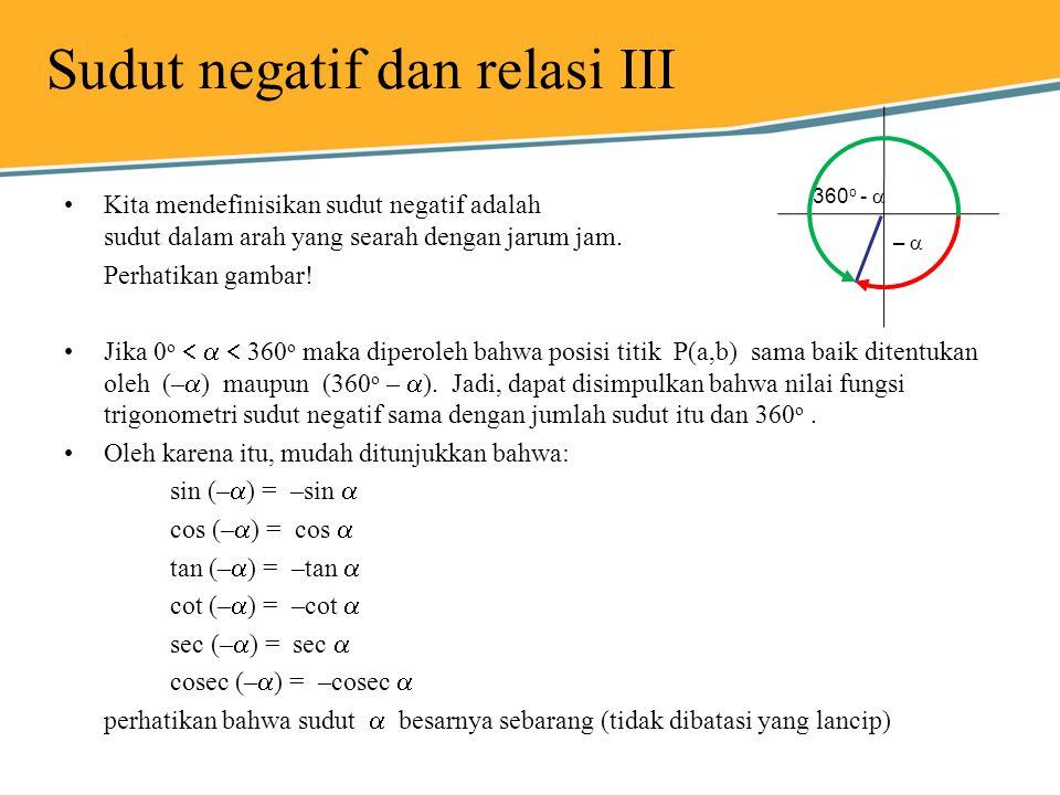 Sudut negatif dan relasi III Kita mendefinisikan sudut negatif adalah sudut dalam arah yang searah dengan jarum jam. Perhatikan gambar! Jika 0 o   