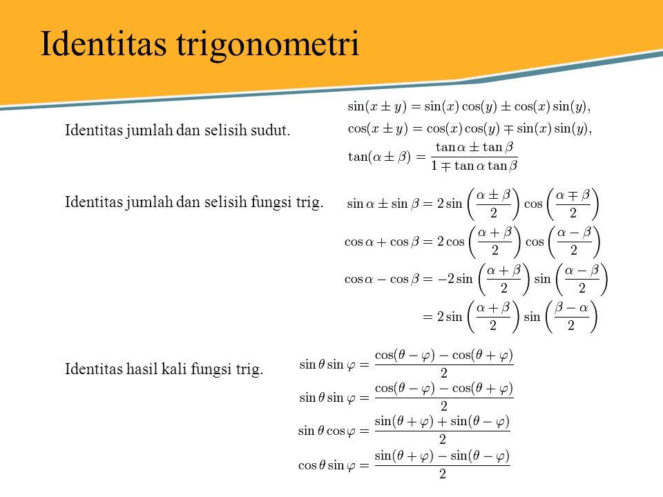 Identitas trigonometri Identitas jumlah dan selisih sudut. Identitas jumlah dan selisih fungsi trig. Identitas hasil kali fungsi trig.