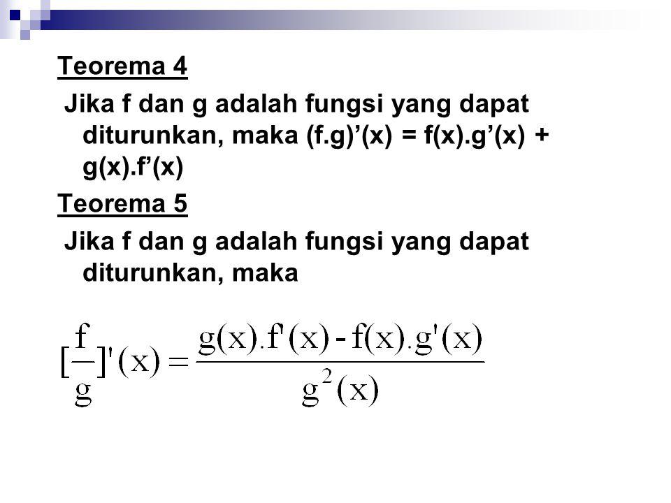 Teorema 4 Jika f dan g adalah fungsi yang dapat diturunkan, maka (f.g)'(x) = f(x).g'(x) + g(x).f'(x) Teorema 5 Jika f dan g adalah fungsi yang dapat d