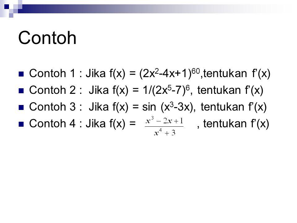 Contoh Contoh 1 : Jika f(x) = (2x 2 -4x+1) 60,tentukan f'(x) Contoh 2 : Jika f(x) = 1/(2x 5 -7) 6, tentukan f'(x) Contoh 3 : Jika f(x) = sin (x 3 -3x)