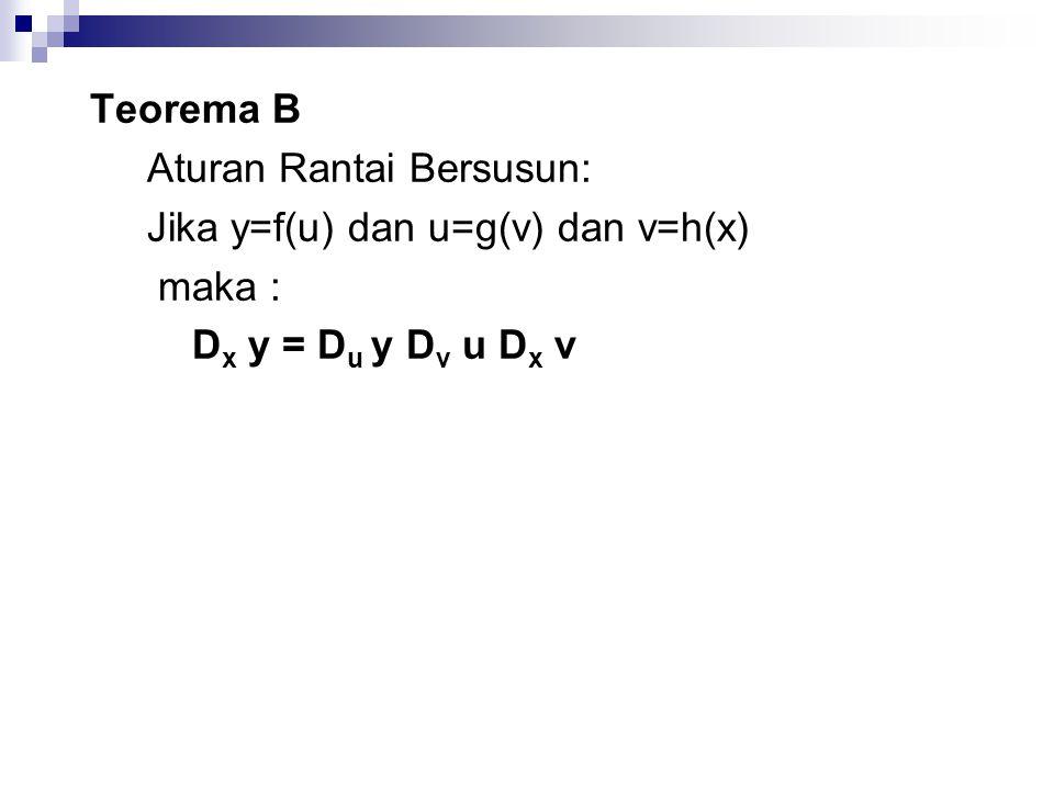 Teorema B Aturan Rantai Bersusun: Jika y=f(u) dan u=g(v) dan v=h(x) maka : D x y = D u y D v u D x v