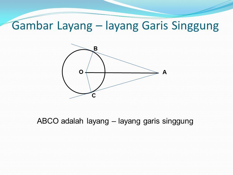 Layang-layang garis singgung Misal titik A terletak diluar lingkaran O.ada 2 garis singgung yang dapat dibuat dari titik A terhadap lingkaran O.