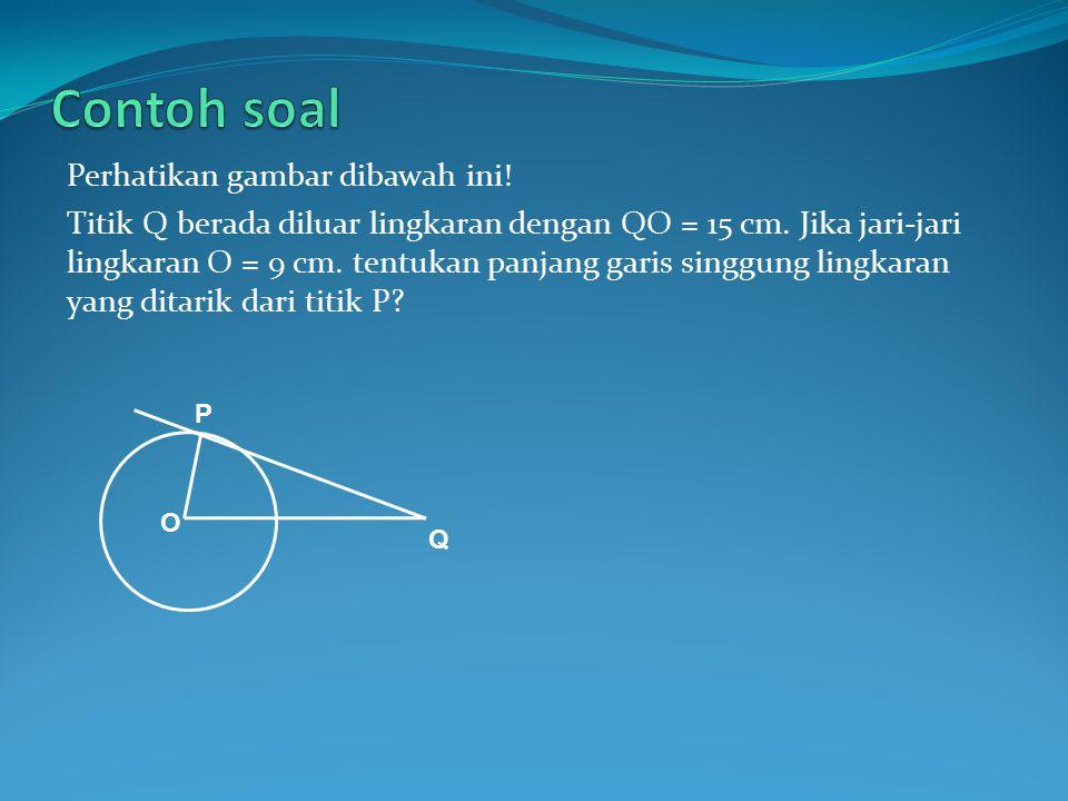 Menghitung panjang garis singgung lingkaran Panjang garis singgung lingkaran yang ditarik dari titik diluar lingkaran dapat dihitung, apabila diketahui panjang jari-jari lingkaran(r) dan jarak titik pusat lingkaran dengan titik diluar lingkaran tersebut(d).