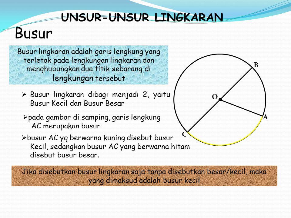 UNSUR-UNSUR LINGKARAN Busur C B A O Busur lingkaran adalah garis lengkung yang terletak pada lengkungan lingkaran dan menghubungkan dua titik sebarang di lengkungan tersebut  Busur lingkaran dibagi menjadi 2, yaitu Busur Kecil dan Busur Besar Jika disebutkan busur lingkaran saja tanpa disebutkan besar/kecil, maka yang dimaksud adalah busur kecil  pada gambar di samping, garis lengkung AC merupakan busur  busur AC yg berwarna kuning disebut busur Kecil, sedangkan busur AC yang berwarna hitam disebut busur besar.