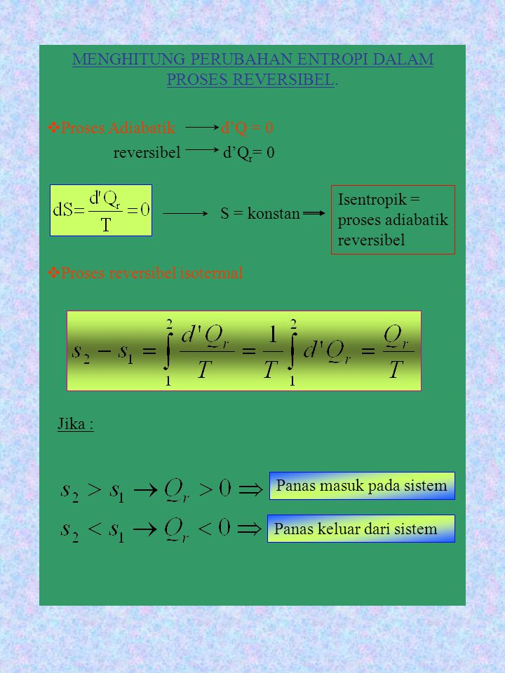 MENGHITUNG PERUBAHAN ENTROPI DALAM PROSES REVERSIBEL. PP roses Adiabatik d'Q = 0 reversibel d'Q r = 0 PP roses reversibel isotermal S = konstan Ji