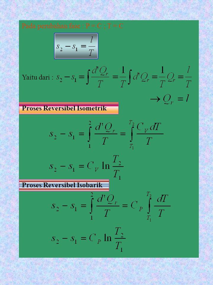 Pada setiap proses dimana mengalir antara sistem dengan lingkungan secara reversibel, maka suhu sistem dan suhu lingkungan adalah sama.