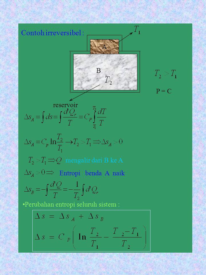 Contoh irreversibel : B reservoir P = C mengalir dari B ke A Entropi benda A naik Perubahan entropi seluruh sistem : A