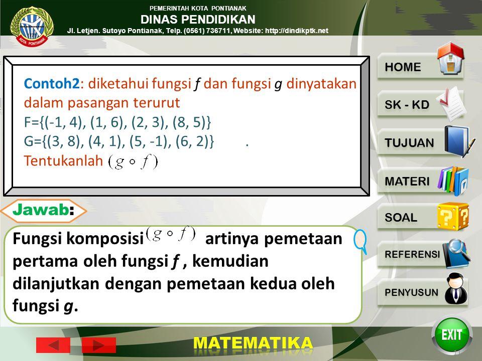 PEMERINTAH KOTA PONTIANAK DINAS PENDIDIKAN Jl. Letjen. Sutoyo Pontianak, Telp. (0561) 736711, Website: http://dindikptk.net 10 Contoh1: diketahui fung