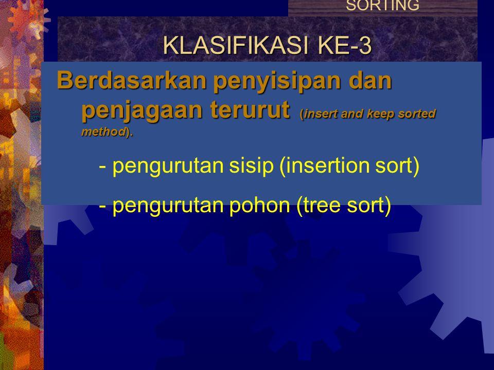 KLASIFIKASI KE-2 Berdasarkan prioritas antrian (priority queue sorting method). - pengurutan seleksi (selection sort) - pengurutan himpun (heap sort)
