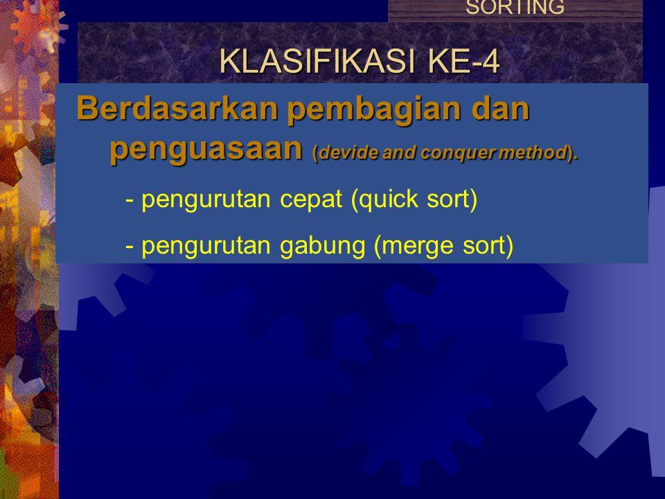 KLASIFIKASI KE-3 Berdasarkan penyisipan dan penjagaan terurut (insert and keep sorted method). - pengurutan sisip (insertion sort) - pengurutan pohon