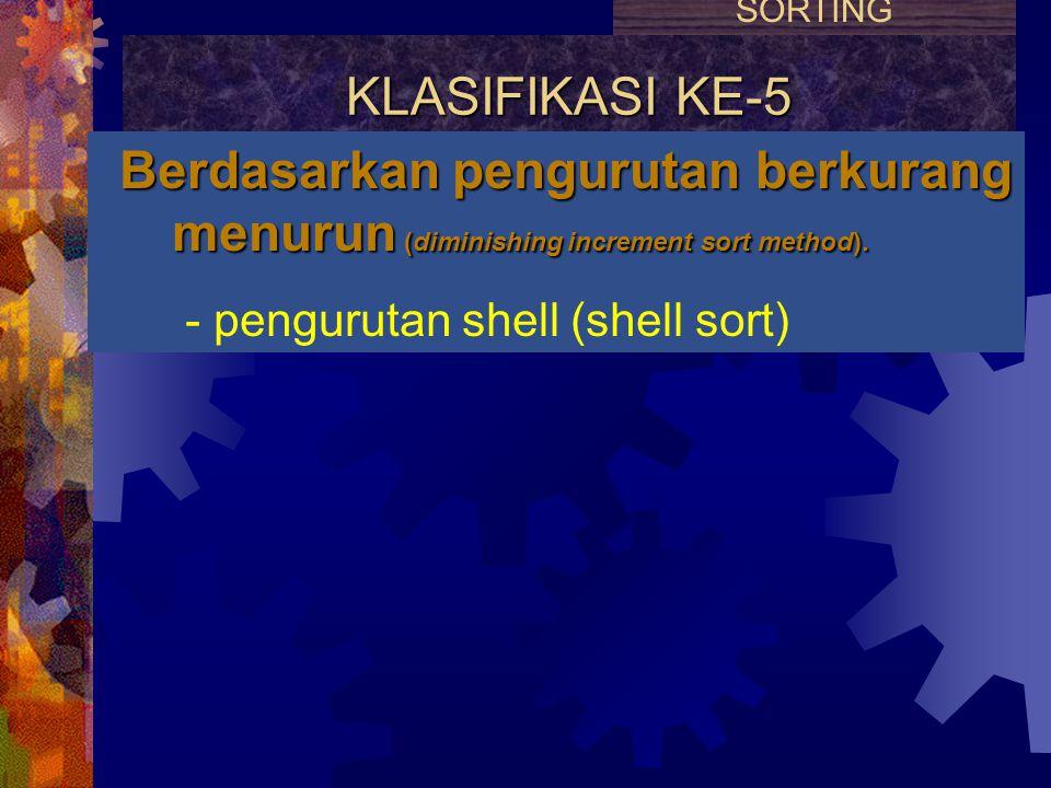KLASIFIKASI KE-4 Berdasarkan pembagian dan penguasaan (devide and conquer method). - pengurutan cepat (quick sort) - pengurutan gabung (merge sort) SO