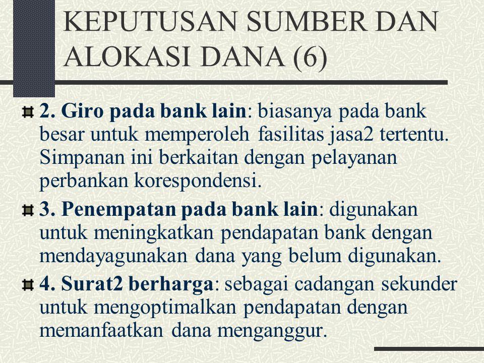 KEPUTUSAN SUMBER DAN ALOKASI DANA (5) Alokasi dana yang dikumpulkan bank umum sebagian besar disalurkan sebagai pinjaman, sedangkan sebagian dalam ben