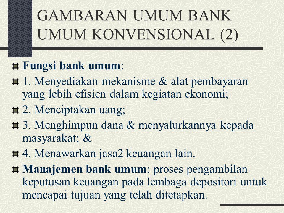 GAMBARAN UMUM BANK UMUM KONVENSIONAL (1) Lembaga depositori (LD): LK yang meng- himpun dana secara langsung dari masya- rakat dalam bentuk rekenig gir