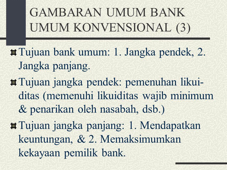 GAMBARAN UMUM BANK UMUM KONVENSIONAL (2) Fungsi bank umum: 1. Menyediakan mekanisme & alat pembayaran yang lebih efisien dalam kegiatan ekonomi; 2. Me