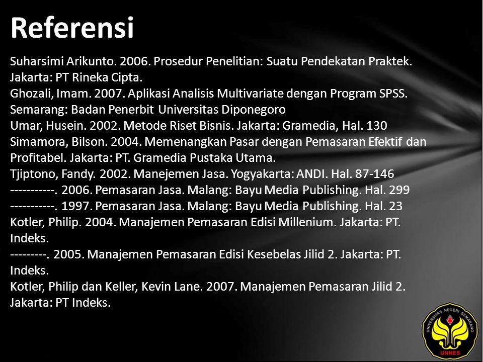 Referensi Suharsimi Arikunto. 2006. Prosedur Penelitian: Suatu Pendekatan Praktek. Jakarta: PT Rineka Cipta. Ghozali, Imam. 2007. Aplikasi Analisis Mu