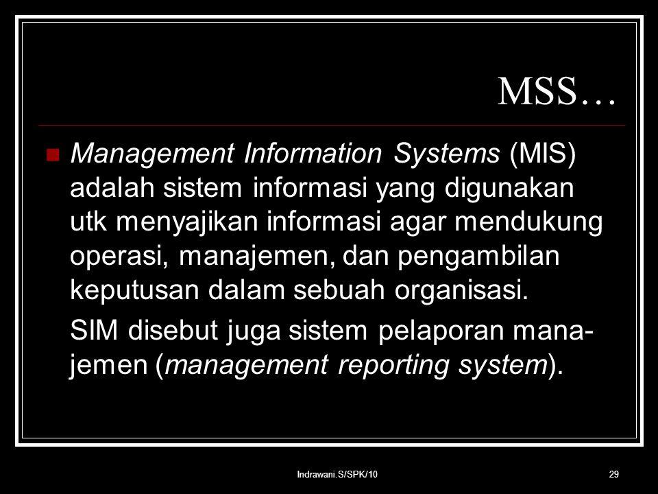 Indrawani.S/SPK/1029 MSS… Management Information Systems (MIS) adalah sistem informasi yang digunakan utk menyajikan informasi agar mendukung operasi, manajemen, dan pengambilan keputusan dalam sebuah organisasi.
