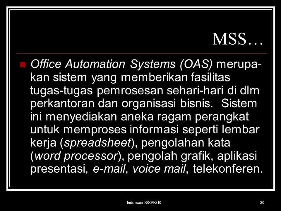 Indrawani.S/SPK/1030 MSS… Office Automation Systems (OAS) merupa- kan sistem yang memberikan fasilitas tugas-tugas pemrosesan sehari-hari di dlm perkantoran dan organisasi bisnis.
