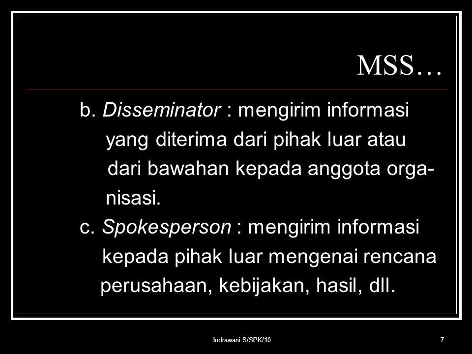 Indrawani.S/SPK/1028 MSS… Contoh TPS : - Sistem informasi untuk mencatat tran- saksi penjualan, pemesanan tiket pesawat, dll.