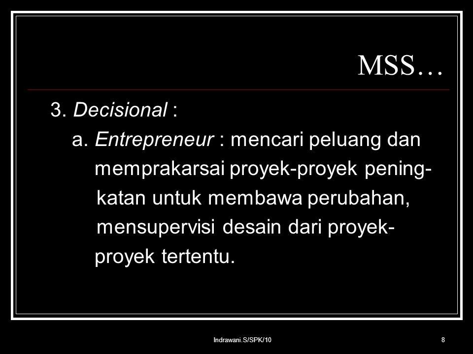 Indrawani.S/SPK/108 MSS… 3. Decisional : a.