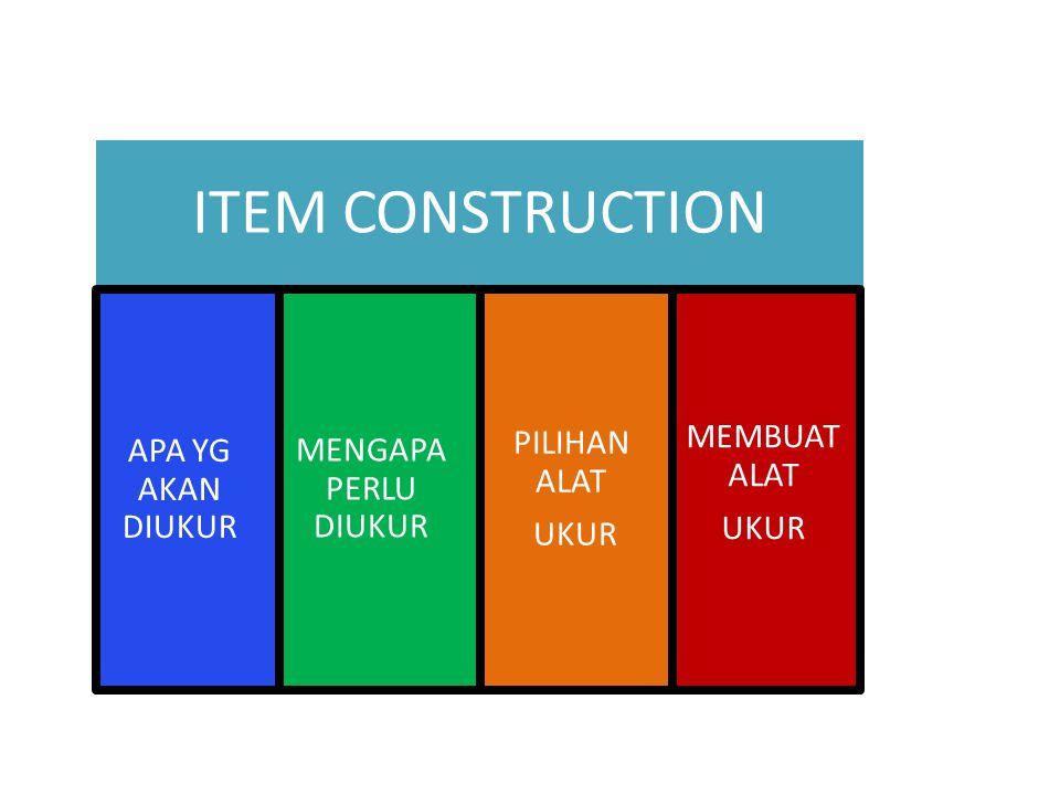 ITEM CONSTRUCTION APA YG AKAN DIUKUR MENGAPA PERLU DIUKUR PILIHAN ALAT UKUR MEMBUAT ALAT UKUR