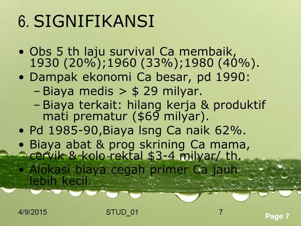 Powerpoint Templates Page 7 4/9/2015STUD_017 6. SIGNIFIKANSI Obs 5 th laju survival Ca membaik, 1930 (20%);1960 (33%);1980 (40%). Dampak ekonomi Ca be