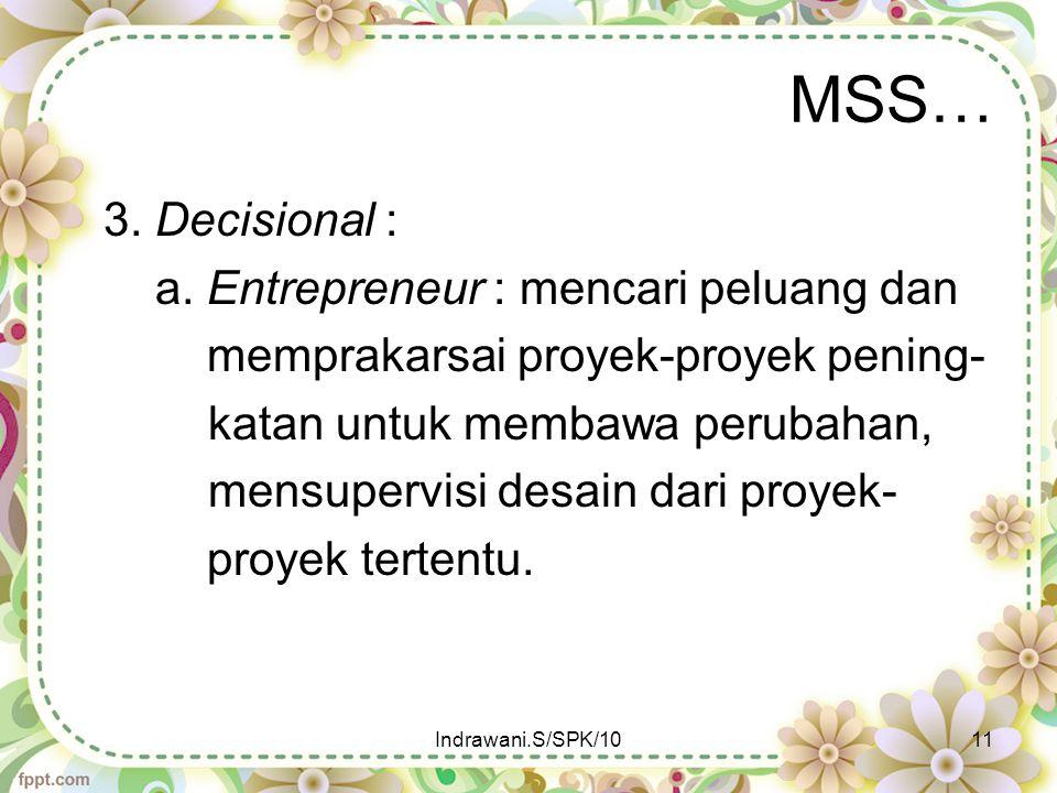 MSS… 3. Decisional : a. Entrepreneur : mencari peluang dan memprakarsai proyek-proyek pening- katan untuk membawa perubahan, mensupervisi desain dari