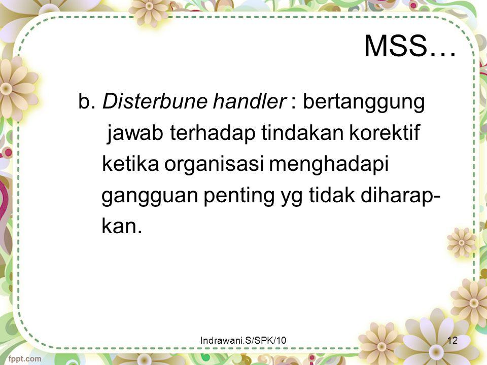 MSS… b. Disterbune handler : bertanggung jawab terhadap tindakan korektif ketika organisasi menghadapi gangguan penting yg tidak diharap- kan. Indrawa