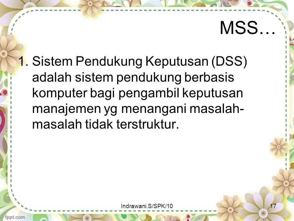 MSS… 1. Sistem Pendukung Keputusan (DSS) adalah sistem pendukung berbasis komputer bagi pengambil keputusan manajemen yg menangani masalah- masalah ti