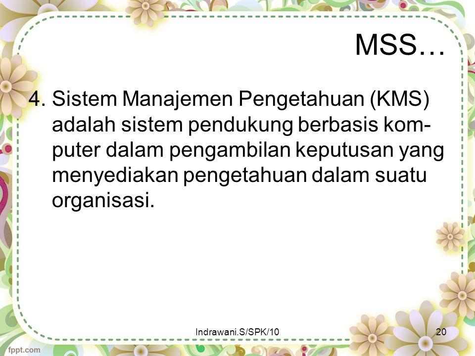 MSS… 4. Sistem Manajemen Pengetahuan (KMS) adalah sistem pendukung berbasis kom- puter dalam pengambilan keputusan yang menyediakan pengetahuan dalam