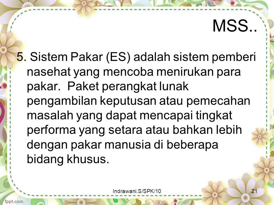 MSS.. 5. Sistem Pakar (ES) adalah sistem pemberi nasehat yang mencoba menirukan para pakar. Paket perangkat lunak pengambilan keputusan atau pemecahan
