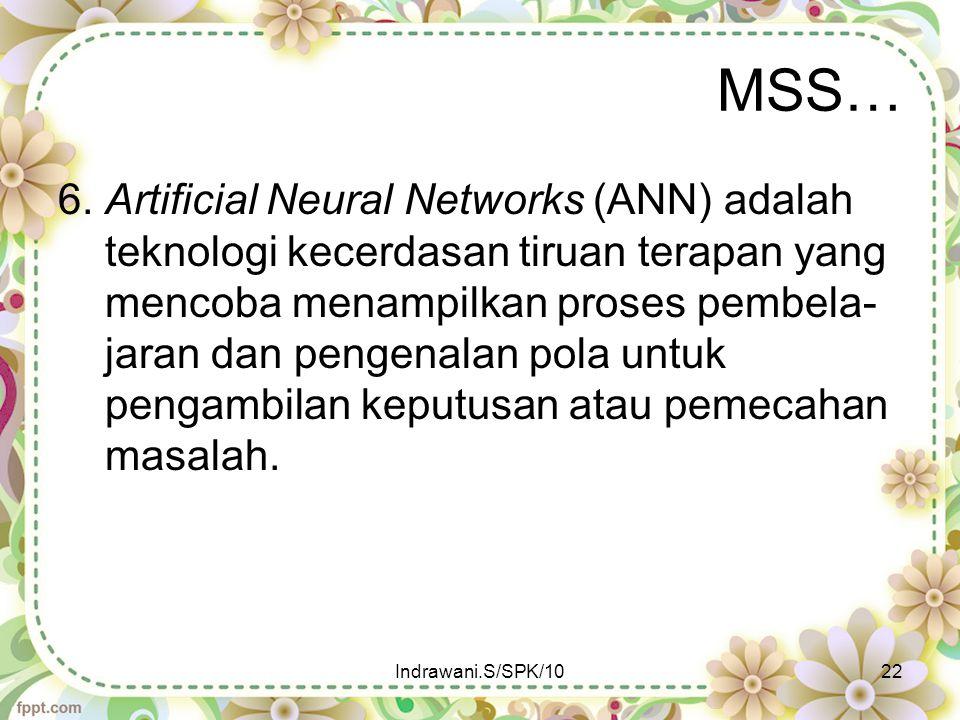 MSS… 6. Artificial Neural Networks (ANN) adalah teknologi kecerdasan tiruan terapan yang mencoba menampilkan proses pembela- jaran dan pengenalan pola