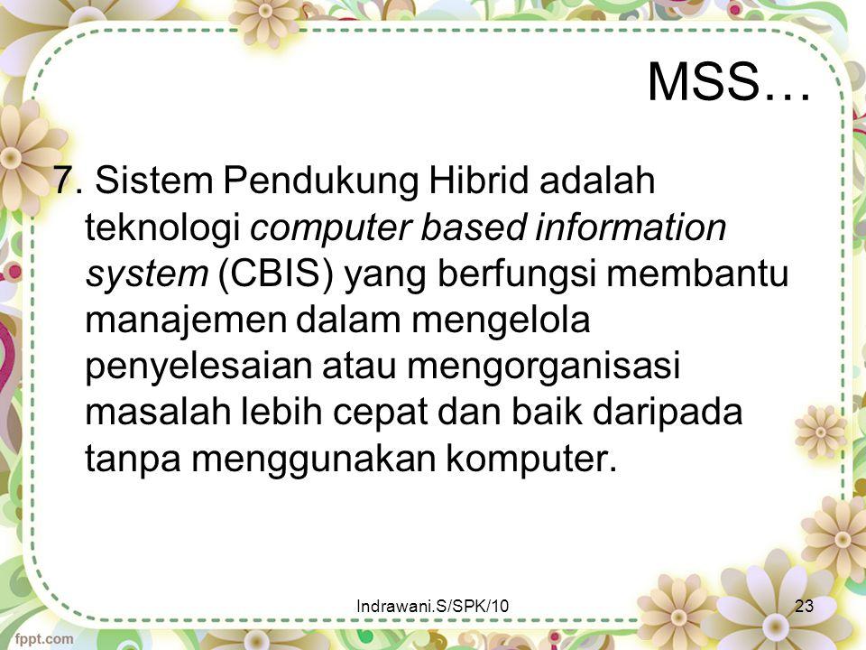 MSS… 7. Sistem Pendukung Hibrid adalah teknologi computer based information system (CBIS) yang berfungsi membantu manajemen dalam mengelola penyelesai