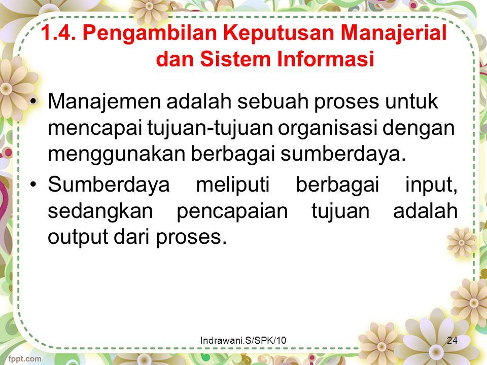 1.4. Pengambilan Keputusan Manajerial dan Sistem Informasi Manajemen adalah sebuah proses untuk mencapai tujuan-tujuan organisasi dengan menggunakan b