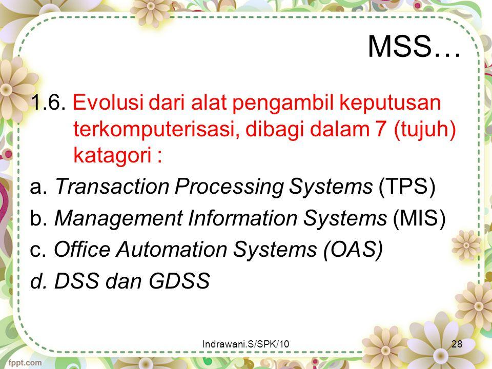 MSS… 1.6. Evolusi dari alat pengambil keputusan terkomputerisasi, dibagi dalam 7 (tujuh) katagori : a. Transaction Processing Systems (TPS) b. Managem