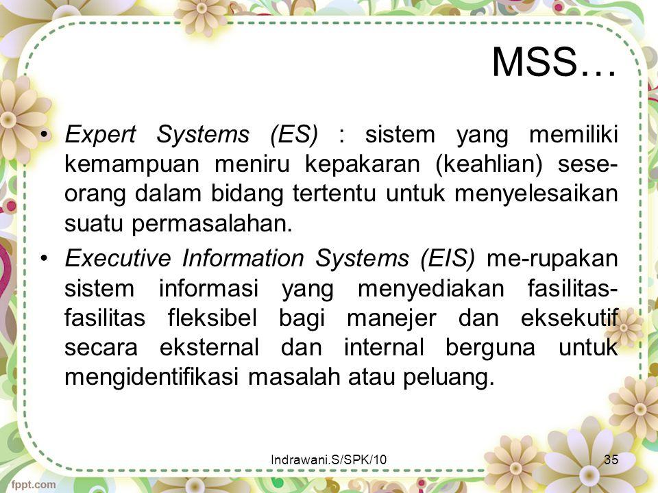 MSS… Expert Systems (ES) : sistem yang memiliki kemampuan meniru kepakaran (keahlian) sese- orang dalam bidang tertentu untuk menyelesaikan suatu perm