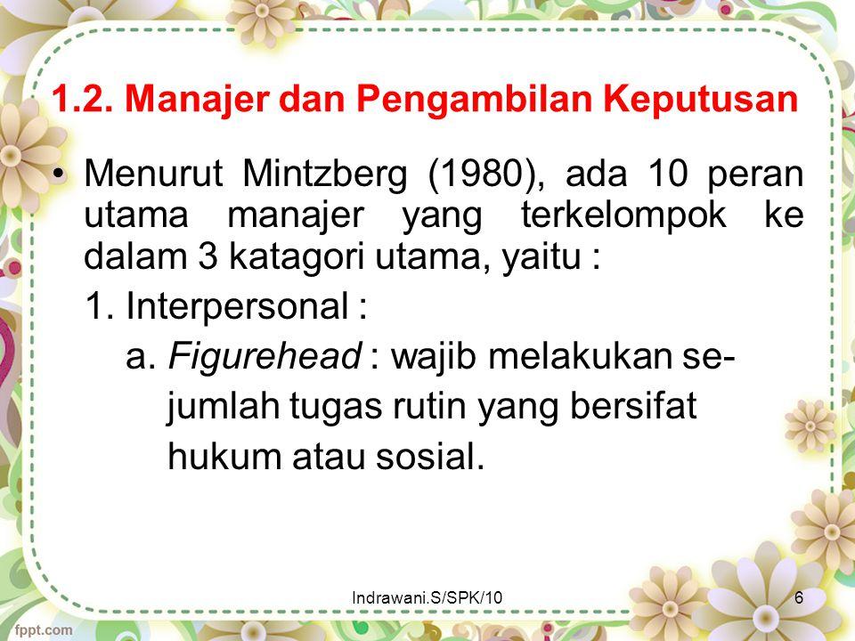 1.2. Manajer dan Pengambilan Keputusan Menurut Mintzberg (1980), ada 10 peran utama manajer yang terkelompok ke dalam 3 katagori utama, yaitu : 1. Int