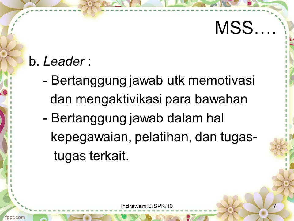MSS…. b. Leader : - Bertanggung jawab utk memotivasi dan mengaktivikasi para bawahan - Bertanggung jawab dalam hal kepegawaian, pelatihan, dan tugas-