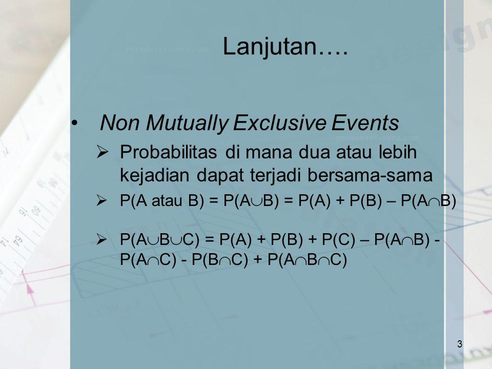 Lanjutan…. Non Mutually Exclusive Events  Probabilitas di mana dua atau lebih kejadian dapat terjadi bersama-sama  P(A atau B) = P(A  B) = P(A) + P