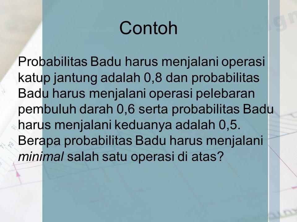 Contoh Probabilitas Badu harus menjalani operasi katup jantung adalah 0,8 dan probabilitas Badu harus menjalani operasi pelebaran pembuluh darah 0,6 s