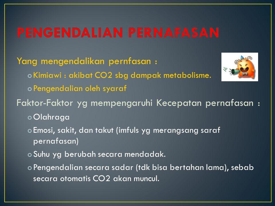 Yang mengendalikan pernfasan : oKimiawi : akibat CO2 sbg dampak metabolisme. oPengendalian oleh syaraf Faktor-Faktor yg mempengaruhi Kecepatan pernafa