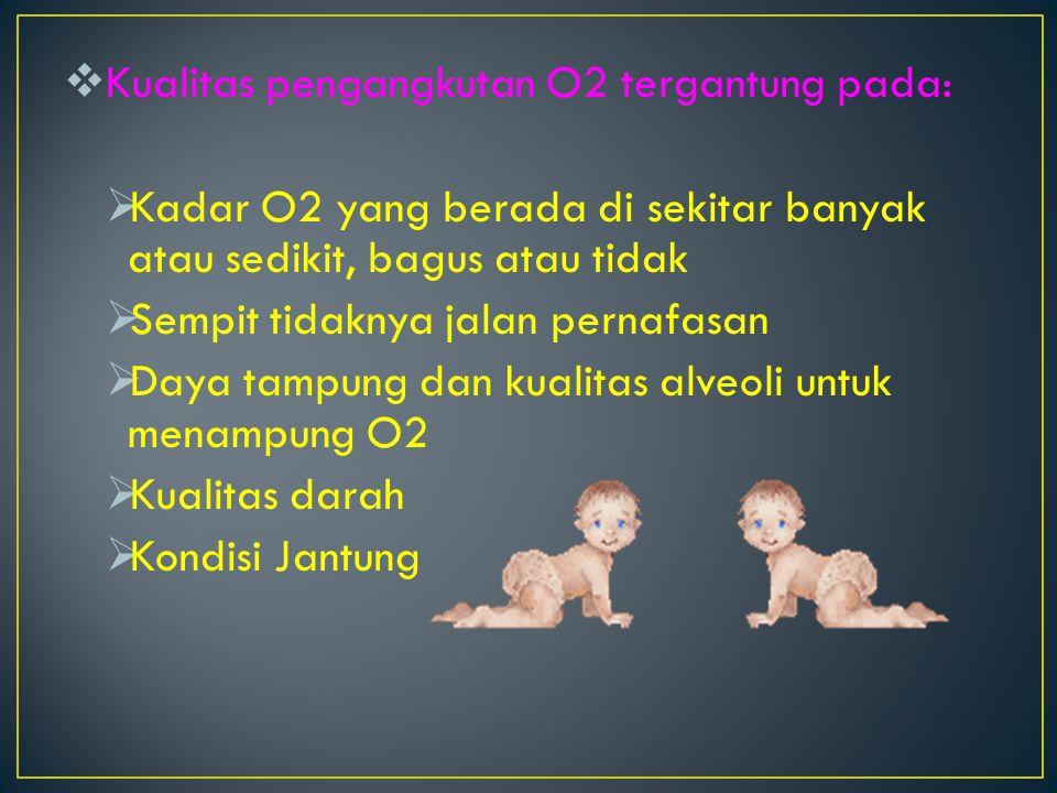  Kualitas pengangkutan O2 tergantung pada:  Kadar O2 yang berada di sekitar banyak atau sedikit, bagus atau tidak  Sempit tidaknya jalan pernafasan