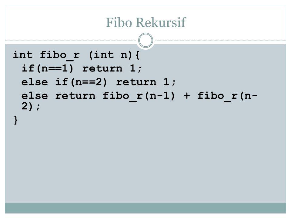Fibo Rekursif int fibo_r (int n){ if(n==1) return 1; else if(n==2) return 1; else return fibo_r(n-1) + fibo_r(n- 2); }