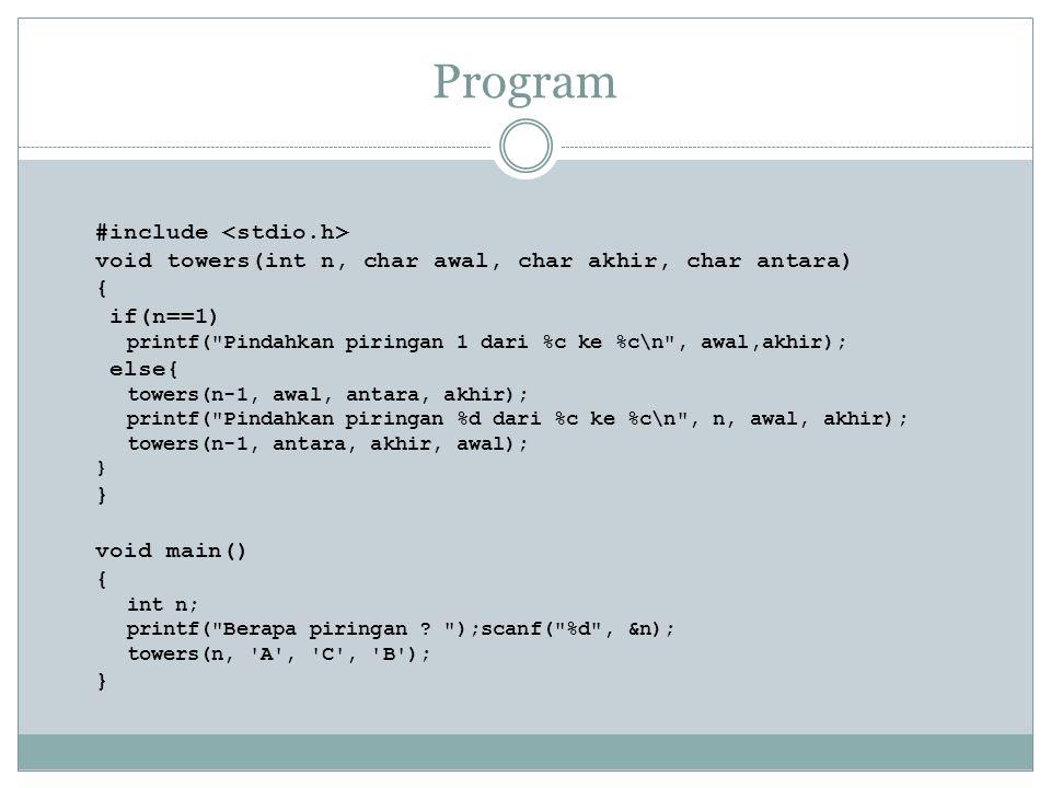 Program #include void towers(int n, char awal, char akhir, char antara) { if(n==1) printf(