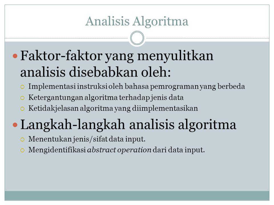 Analisis Algoritma Faktor-faktor yang menyulitkan analisis disebabkan oleh:  Implementasi instruksi oleh bahasa pemrograman yang berbeda  Ketergantu